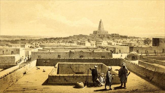Картина Генриха Барта г. Табуку с мечетью Джингребер