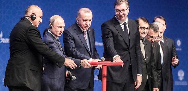 8.01.2020 года Путин, Эрдоган, Борисов и Вучич запустили газопровод Турецкий поток